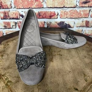 Tory Burch Crystal Bow Embellished Suede Loafers